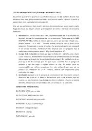 texto argumentativo for and against essay