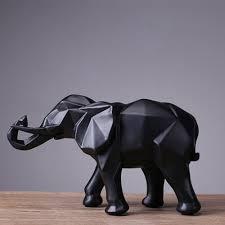 Fashion Abstract Black Elephant Statue Resin Ornaments <b>Home</b> ...