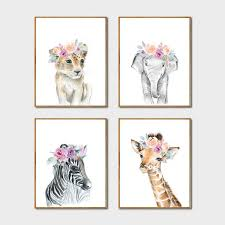 Animals Floral Crown Art Decor Canvas Painting , Baby Girl Prints ...