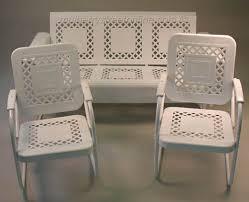 Vintage White Metal Outdoor Patio Furniture Set  O