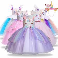 <b>Girls unicorn</b> dress Baby <b>Girl</b> elsa Embroidery <b>Flower</b> Princess ...