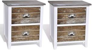 vidaXL <b>Nightstand 2 pcs with</b> 2 Drawers Brown and White Bedroom ...