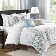 bedroom modern white bedding designs feat blue and grey leaf