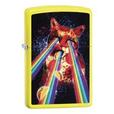 <b>Зажигалка</b> ZIPPO <b>Pizza Cat</b> с покрытием Neon Yellow, жёлтая ...