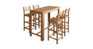 <b>Bar</b> Table and Chair <b>Set 5 Pieces</b> Solid Acacia Wood - Matt Blatt