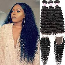 Brazilian 8A Deep Wave 3 Bundles with Closure ... - Amazon.com