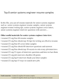 top 8 senior systems engineer resume samples in this file you can ref resume materials system engineer resume sample