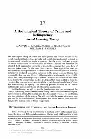 social learning theory crime essay essay a sociological theory of crime and delinquency springer