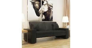 Sofa Bed <b>Black Artificial Leather</b> - Matt Blatt
