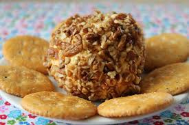 Image result for cheeseball with nuts and crackers