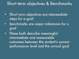 goal writing by caroline leland short term objectives benchmarks