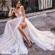 A Line Wedding Dress Backless Lace Bride Dress <b>Sexy Side Split</b> ...