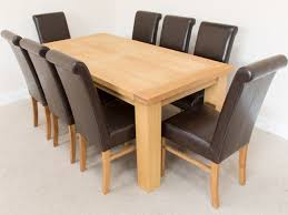 delivery dorset natural real oak dining set: oak  rigset riga m oak dining table and  emperor brown leather dining chairs