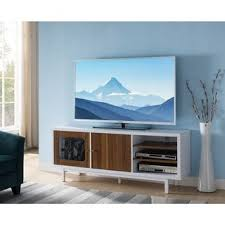 Shop Dual Tone <b>Wooden TV</b> Stand with 3 Open Shelves, <b>White</b> and ...