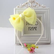 <b>M MISM 1PC</b> New Chiffon Big Bow Flower Pearls Hair Band For ...