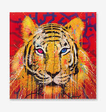 the blue eyes tiger animal 5 piece wallpapers modern modular poster art canvas painting for living room home decor