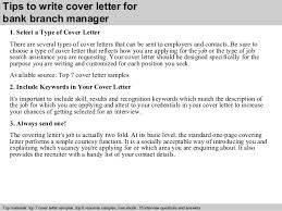 bank branch manager cover letter      tips to write cover letter for bank