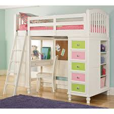 modern white girls loft bunk beds with desk and drawers above wooden flooring bedroom loft furniture