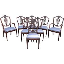 hepplewhite shield dining chairs set: set of  mahogany hepplewhite style shield back upholstered dining chairs