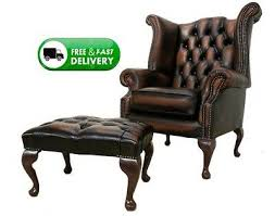 Chesterfield New Queen Anne High Back Wing Chair Antique Real ...