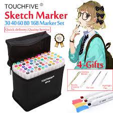 <b>Touchfive Marker 30/40/60/80</b>/<b>168Colors</b> Art <b>Marker</b> Set Oily Alcohol ...