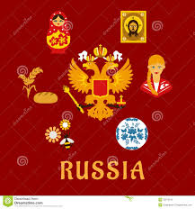 russian traditional national flat symbols stock vector image russian traditional national flat symbols