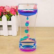 Buy Hanvi <b>Double Color</b> Floating Liquid <b>Oil</b> Acrylic <b>Hourglass</b> ...