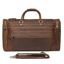 <b>Men's</b> Crazy Horse Leather <b>Travel Bag Cow</b> Leather Big <b>Travel</b> ...