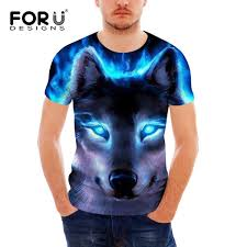 <b>FORUDESIGNS</b> Casual Men Summer <b>T</b> Shirts Cool 3D <b>Wolf Printing</b> ...