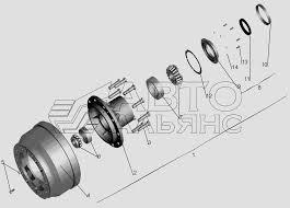 <b>Ступица переднего колеса</b> МАЗ-551605 (Чертеж № 140: список ...