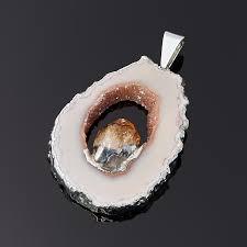 <b>Кулон агат серый срез</b> с кристаллом цитрина (биж. сплав) 4,5-5 ...