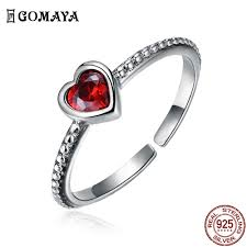 GOMAYA 925 <b>Sterling</b> Silver Red Zircon Heart Rings Vintage <b>Style</b> ...