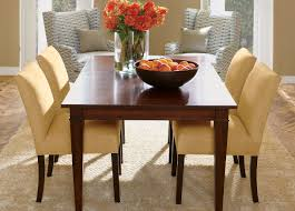 dining table parson chairs interior: rectangle cherry wood ethan allen dining table with set of  cream parson chairs for dining