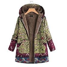 sibina Showy <b>Women Autumn Winter Floral Printed</b> Hooded Jacket ...