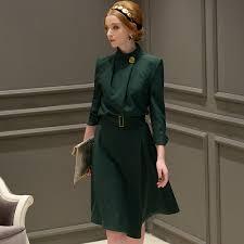 <b>Dabuwawa New</b> Women <b>Vintage</b> Long Sleeve Stand Collar Dress ...