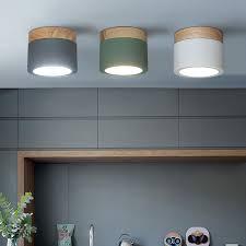 Nordic iron wood ceiling lights <b>surface</b> mounted <b>modern</b> ceiling lamp
