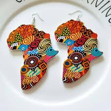 Tribal <b>Wood Africa</b> Map DIY Colorful <b>Painting</b> Afro Vintage Earrings ...
