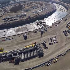 drone movie shows progress on apple campus construction apple head office london