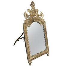 table mirror: continental silver on brass standing dressing table mirror from a unique collection of antique and