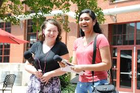 youth reporting institute wunc 2016 summer reporter institute interns claire goray left and gayathri raghavendra right