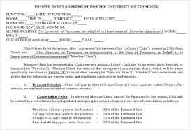 private event agreement template event planning contract templates