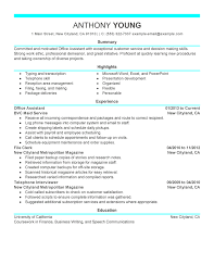 resume examples  example of job resume resume objective examples    example of job resume for summary   highlights and experience as office assistan