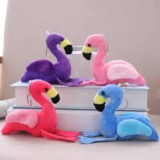 <b>12cm Pink flamingo keychain</b> plush doll toy Key ring bag pendant ...