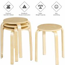 Home & Kitchen Set Of <b>2 Stacking Bar Stools</b> Birch Wood Breakfast ...