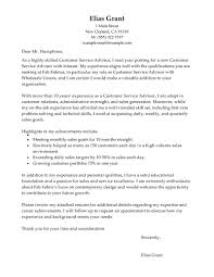 best customer service advisor cover letter examples livecareer edit