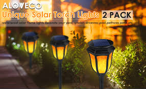 Solar Torch Light with Flickering Flame, ALOVECO 3 ... - Amazon.com