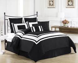 black and white bedding set on black polished iron bed frame as well as black and bedroom white bed set