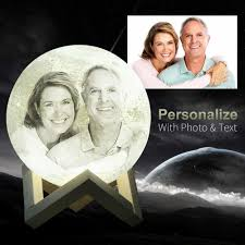 Photo Custom Personality <b>3D Print Moon Lamp</b> Color Change Lunar ...