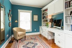 transitional blue and white home office blue white home office