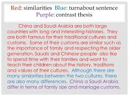 turnabout compare contrast introductions  turnabout introduction    red  similarities blue  turnabout sentence purple  contrast thesis china and saudi arabia are